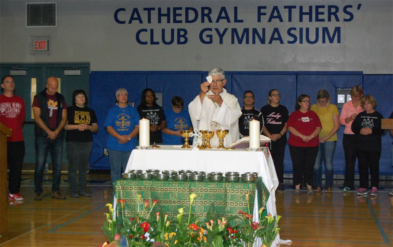 Bishop Emeritus, Anthony F. Tonnos presides over the Pilgrimage Mass at Cathedral High School on Oct. 15th.