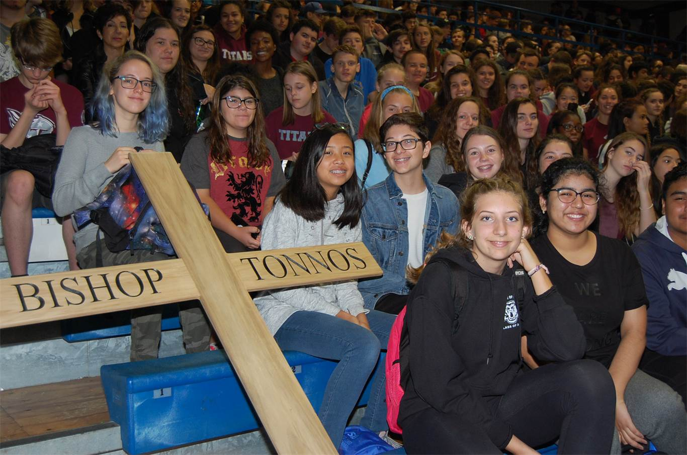 Students from Bishop Tonnos Catholic Secondary School attend a Eucharistic Celebration at Cathedral High School on Oct. 15. Close to 3,000 students and staff take part in the annual