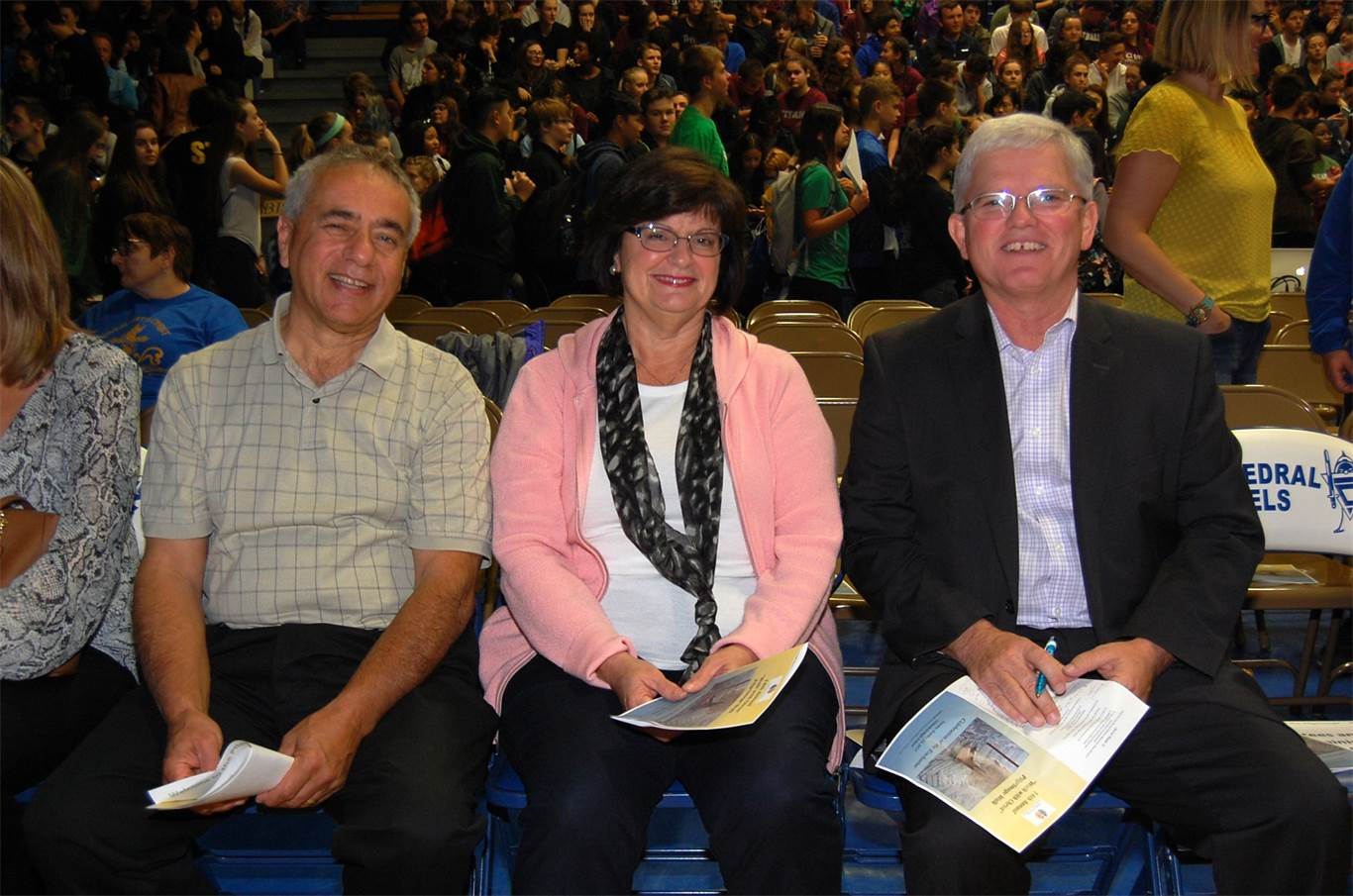 From left, trustees Aldo D'Intino (Ward 5), Mary Nardini (Wards 9, 10 & 11) and Patrick Daly (Ward 7) join students at the annual