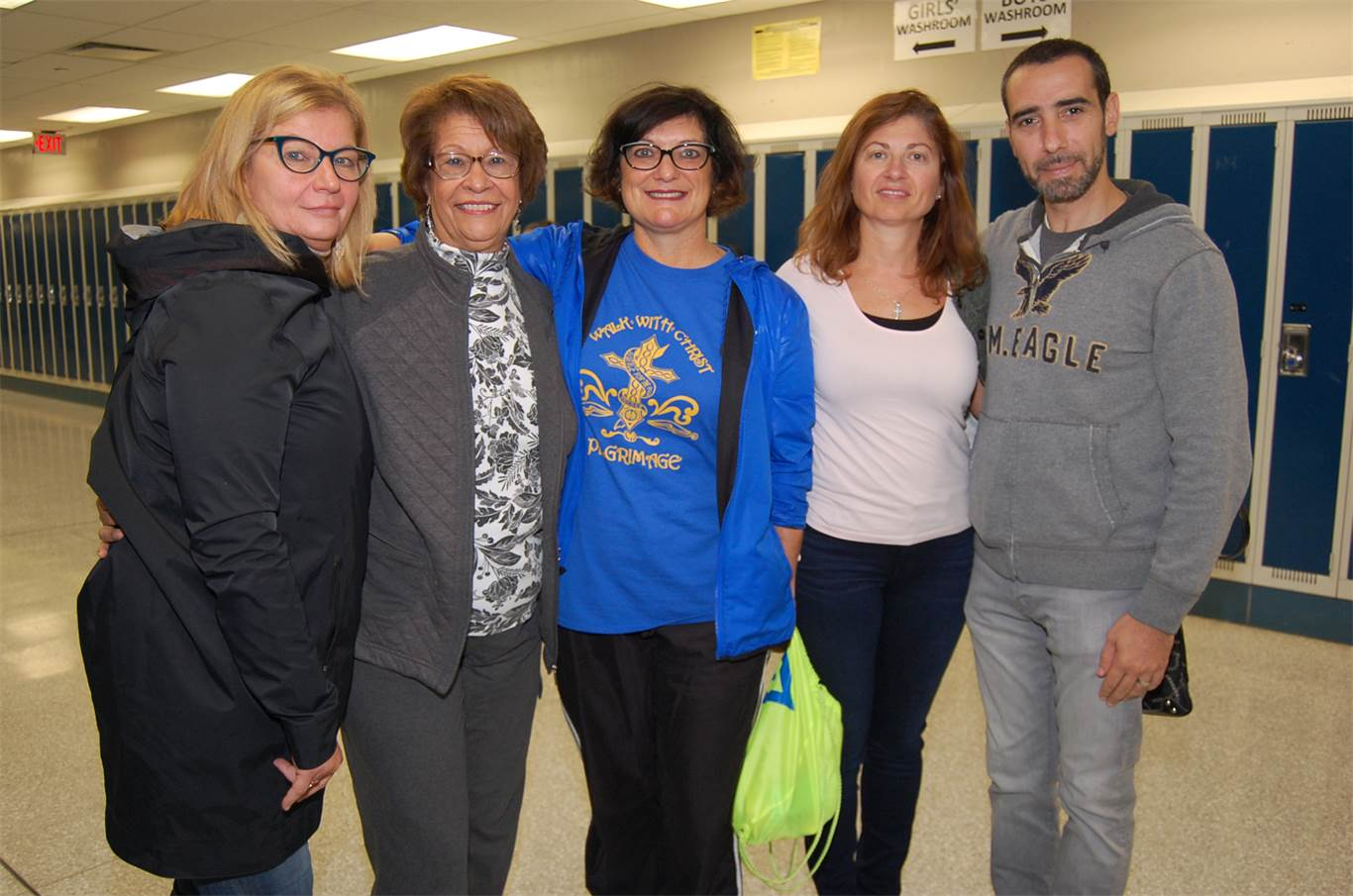 From left to right: Ivana Fortino, Superintendent of Education; retired Superintendent and pilgrimage founder Nancy DiGregorio; Superintendent of Education Sandie Pizzuti; Assistant Superintendent of Education Sandra Scime; and Executive Officer of Human Resources Angelo Romano.