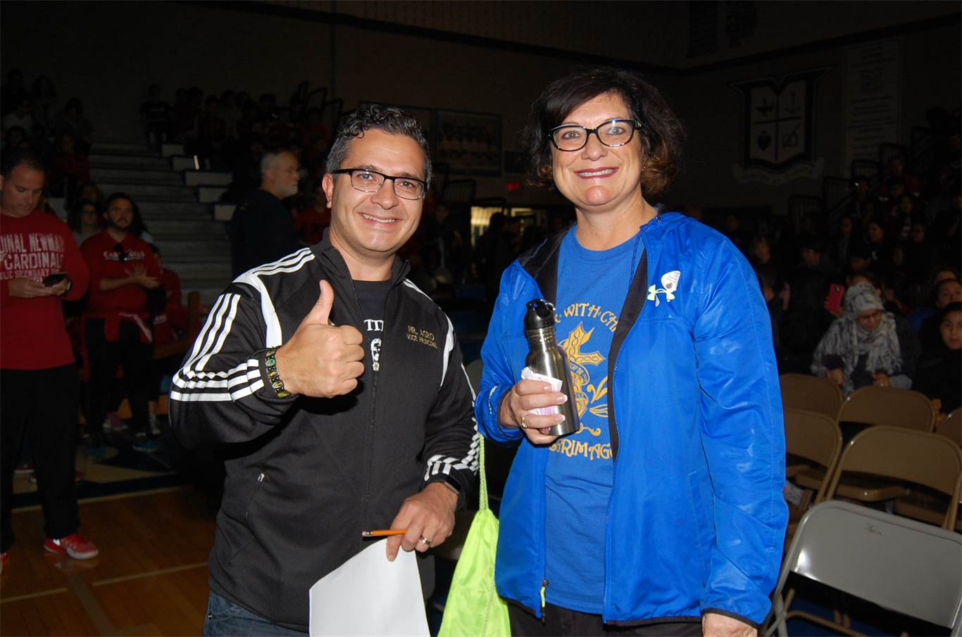 Charlie Agro, Vice-Principal at St. Thomas More Catholic Secondary School and Sandie Pizzuti, Superintendent of Education