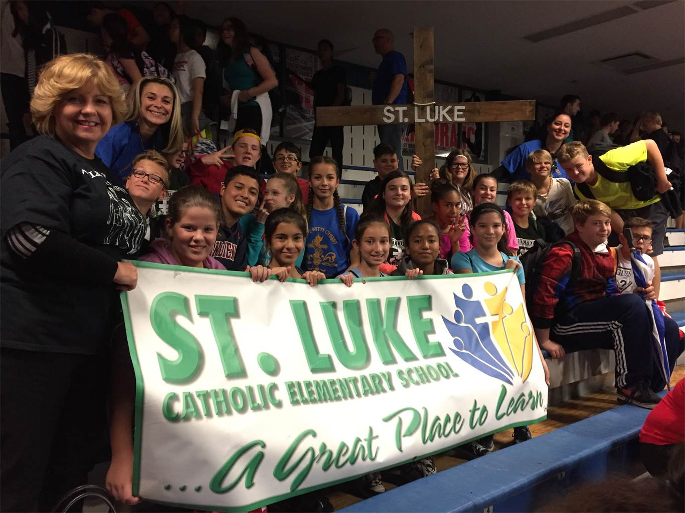 Students from St. Luke Catholic Elementary School attend a Eucharistic Celebration at Cathedral High School on Oct. 15. Close to 3,000 students and staff take part in the annual